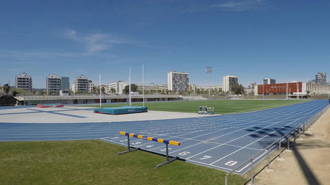 Blue Athletics Olympic Running Tracks With People Running On Them 영상물