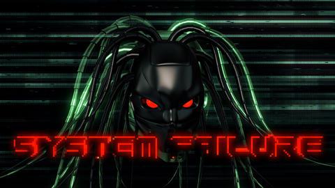 Cyborg Head With Failure System VJ Loop Animation