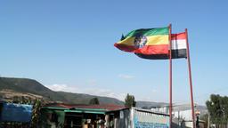 Ethiopia flag waving on a wind ビデオ