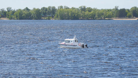 Pleasure boat sailing on the Volga river Live Action