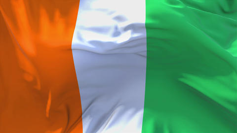 211. Cote D'ivoire Flag Waving in Wind Continuous Seamless Loop Background Live Action