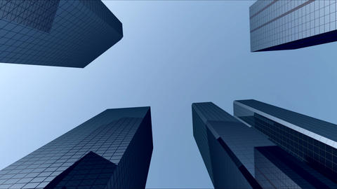 City Buildings With Blue Sky 02 CG動画素材