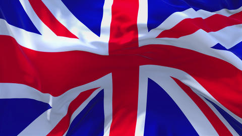 260. United Kigdom Flag Waving in Wind Continuous Seamless Loop Background Live Action