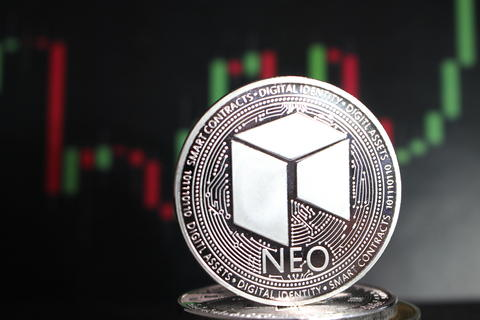 Neo crypto currency amoung other coins - digital currency of the future フォト