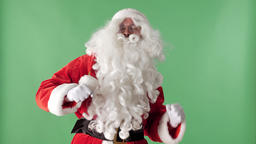 Happy Santa Claus Dancing green chromakey in the background Footage