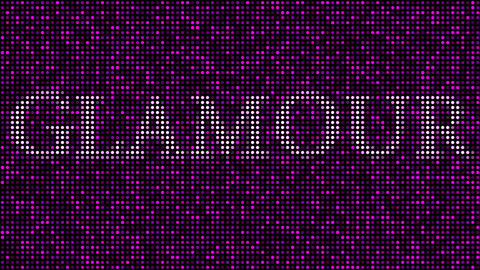 Revealing word GLAMOUR among pink and purple blinking dots. Loopable animation Live Action