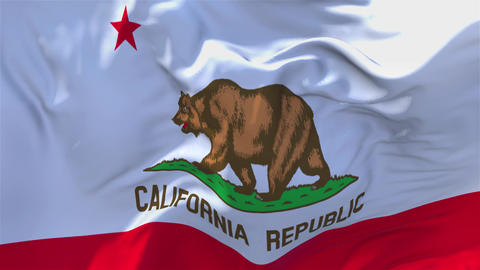 303. California Flag Waving in Wind Continuous Seamless Loop Background Footage