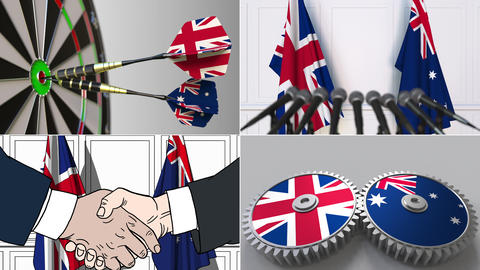 Great Britain and Australia cooperation. Conceptual animation montage Live Action