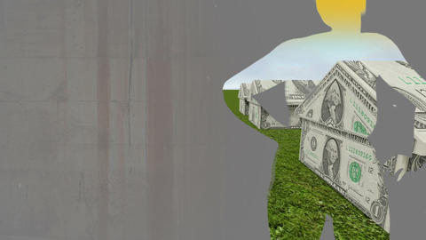 Mixed media of two 3d animation from House made of cash and dancing girl Animation