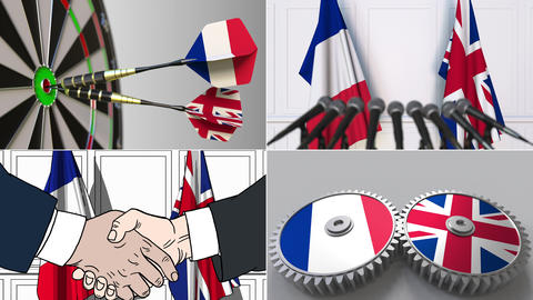 France and the United Kingdom cooperation. Conceptual animation montage Footage