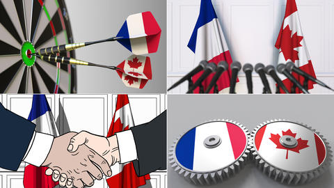 France and Canada cooperation. Conceptual animation montage Footage