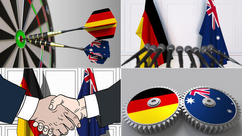 Germany and Australia cooperation. Conceptual animation montage Footage
