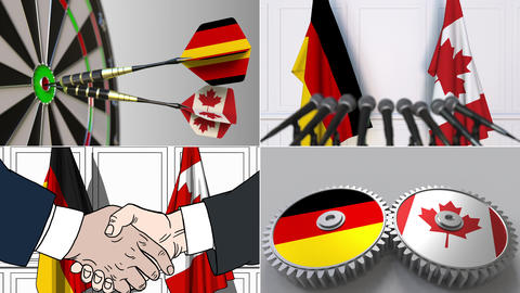 Germany and Canada cooperation. Conceptual animation montage Footage