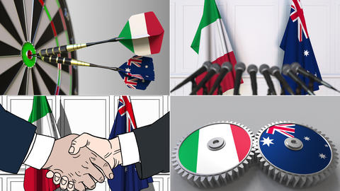 Italy and Australia cooperation. Conceptual animation montage Footage