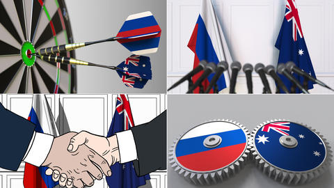 Russia and Australia cooperation. Conceptual animation montage Footage