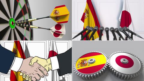 Spain and Japan cooperation. Conceptual animation montage Footage