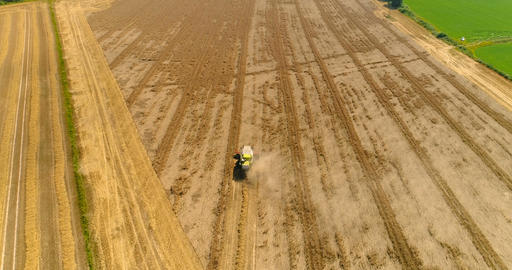 Combine harvester gathers agricultural field Footage