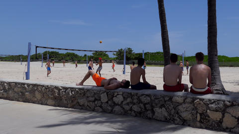 Young People Playing Beach Volleyball Game In South Beach Miami GIF