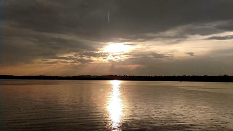 Landscape of the lake at sunset in the rain Footage