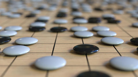 Go ancient board game. Strategy or tactics related loopable animation Footage