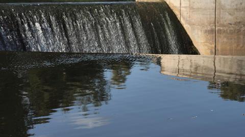 Waterfall in a semicircular water dam Footage
