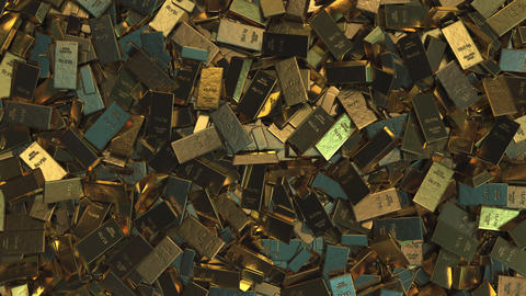A pile of gold bullions. Realistic 3D animation Live Action