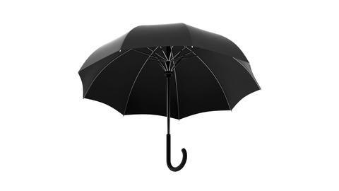 Classic black umbrella seamless looping 3D animation with alpha matte GIF