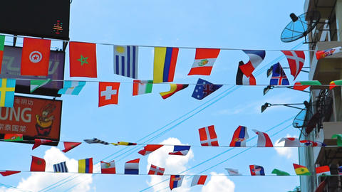 national symbols, flags of all countries of the world Footage