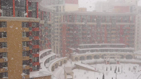 Strong Snowfall In The Winter City GIF