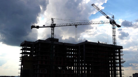 Construction Cranes Industrial Timelapse Video Live Action