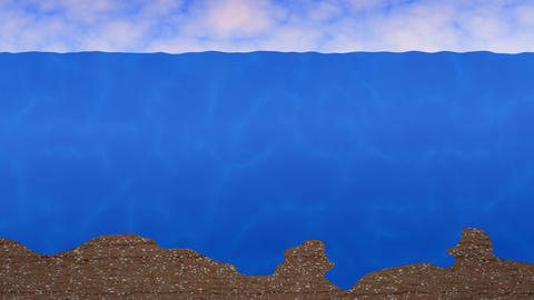 Ocean background with rippling waves, moving clouds, sea floor. 3d animation Animation