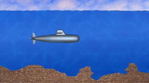 Submarine moving through ocean, sea. 3d animation Animation