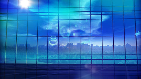 Large office building in front of a panoramic glass window. 3D illustration Photo
