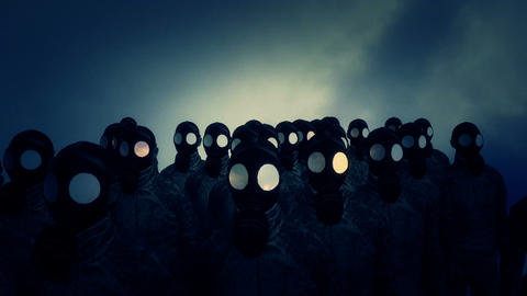 Apocalyptic Nuclear Holocaust and Soldiers Wearing Gas Masks Footage
