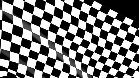 Close-up checkered race flag waving with an alpha channel ビデオ