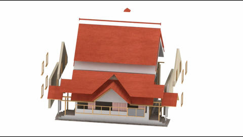 House Animation Being Assembled On White Background