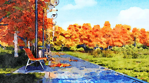 Autumn watercolor landscape with empty park alley Animation
