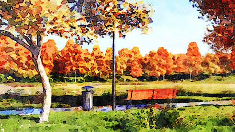 Colorful autumn trees in city park watercolor landscape Animation