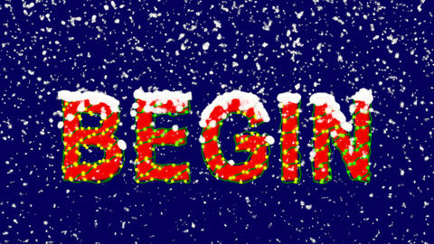New Year text text BEGIN. Snow falls. Christmas mood, looped video. Alpha Animation