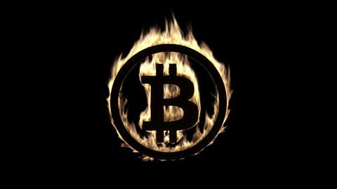 Burning Bitcoin Symbol Animation