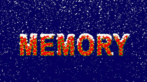 New Year text text MEMORY. Snow falls. Christmas mood, looped video. Alpha Animation