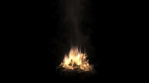 Loopable camp fire with smoke isolated on black... Stock Video Footage