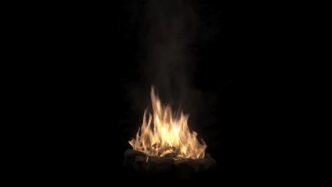 Loopable camp fire with smoke isolated on black background with alpha channel Animation