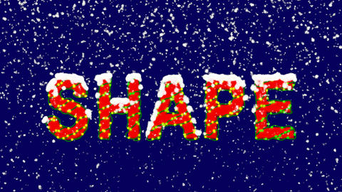 New Year text text SHAPE. Snow falls. Christmas mood, looped video. Alpha Animation