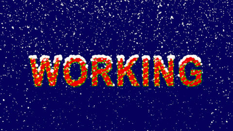 New Year text text WORKING. Snow falls. Christmas mood, looped video. Alpha Animation