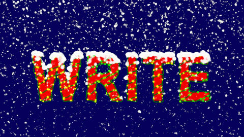 New Year text text WRITE. Snow falls. Christmas mood, looped video. Alpha Animation