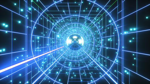 Abstract Retro Polygonal Laser Tunnel Flight Background Animation
