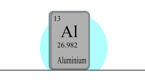 Aluminium. Element of the periodic table of the Mendeleev system Animation