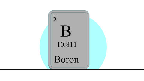 Boron. Element of the periodic table of the Mendeleev system Animation