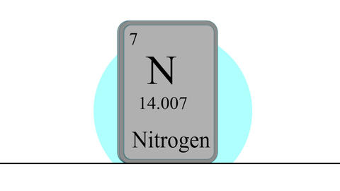 Nitrogen. Element of the periodic table of the Mendeleev system Animation